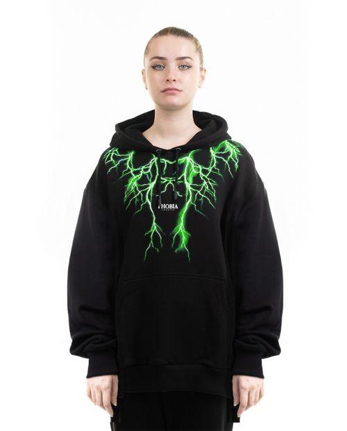 Phobia Felpa Black Hoodie Green Lighting