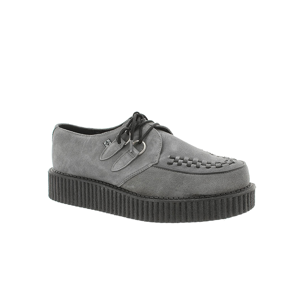 TUK Black Suede Low Creepers GRAY