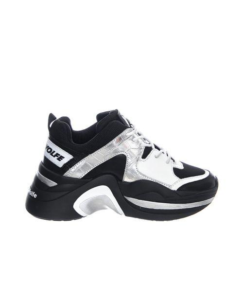 naked wolfe Track Sneakears - Silver Croco - Scarpe Profilo Basso Donna Nere : Argento