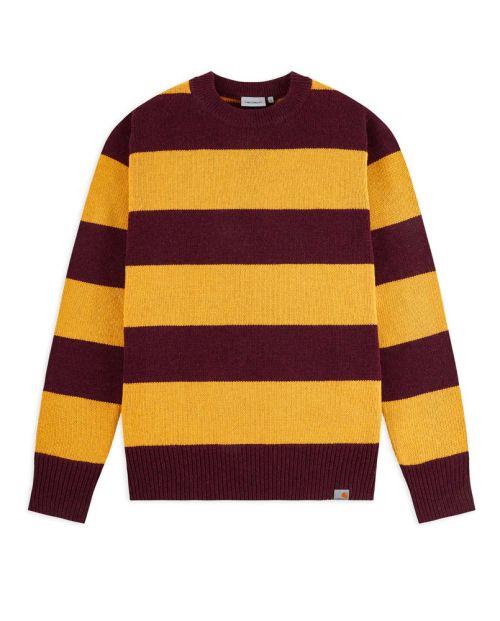 CARHARTT Alvin Sweater Stripe - Merlot/Colza